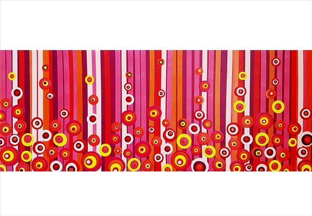 Vibrant circle and stripe retro painting in hot colours by Julee Latimer