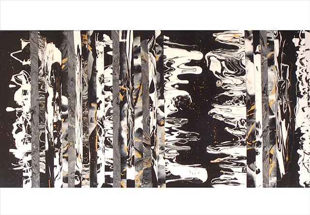 Abstract, fragmented collage painting of black, white and grey monochrome by Julee Latimer