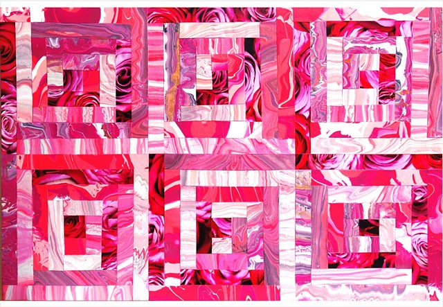 Fragmented, abstract collage patchwork painting of hot pink, pale, pink, deep pink and roses by Julee Latimer