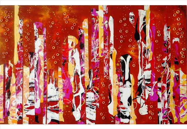Abstract, fragmented collage painting in red, yellow, black and white by Julee Latimer