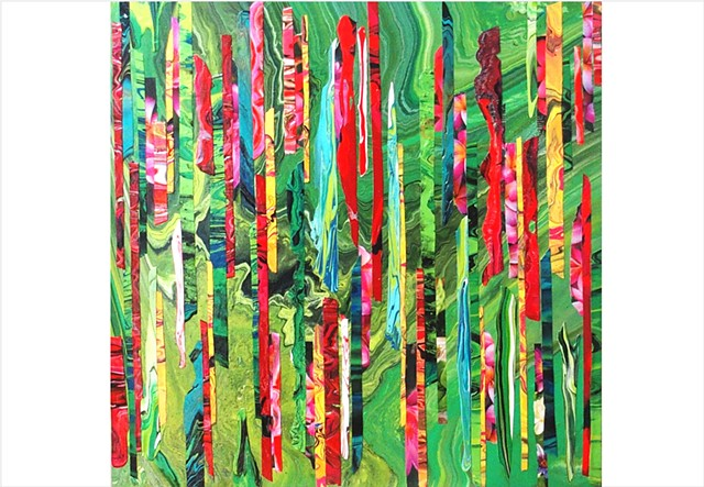 Abstract, fragmented collage, mixed media painting or bright emerald greens with reds and pinks by Julee Latimer
