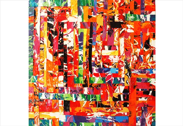 Abstract, fragmented collage resin painting in vivid rainbow colours by Julee Latimer