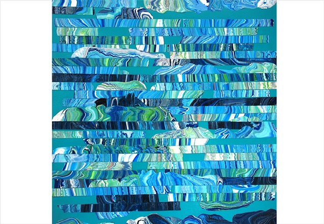 Fragmented, water inspired, abstract collage painting of deep navy and bright aqua blues by Julee Latimer