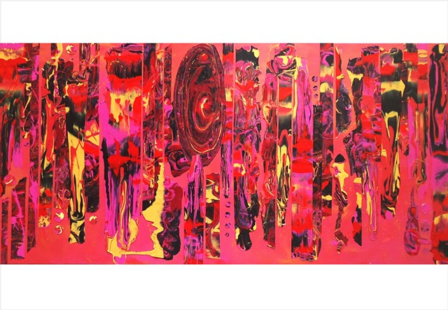 Abstract, fragmented collage painting in deep pinks and bright yellow by Julee Latimer