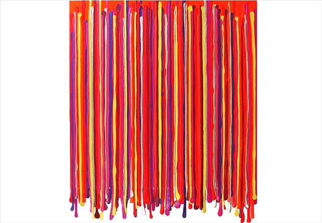 pink and orange drip painting by Julee Latimer