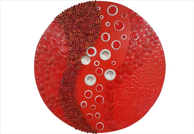 Vivid red dimensional paint circular artwork by Julee Latimer