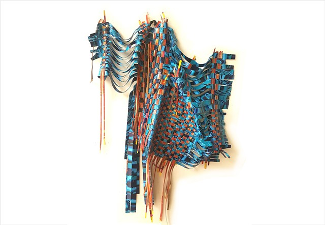 Woven turquoise, gold and orange paint tapestry by Julee Latimer