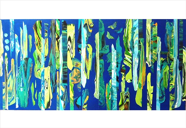 Abstract, fragmented collage painting in deep blues and vivid greens by Julee Latimer