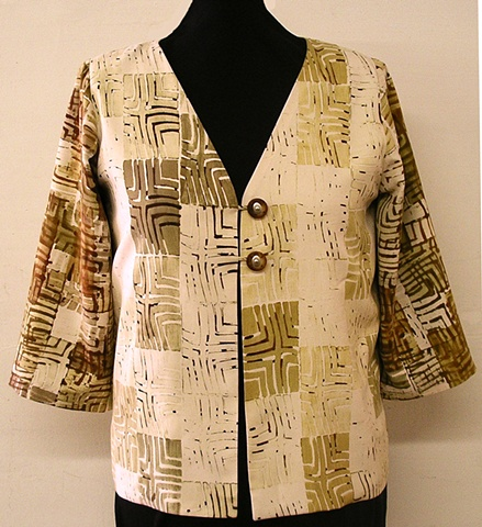 handprinted evening tunic in soft gradations of olive