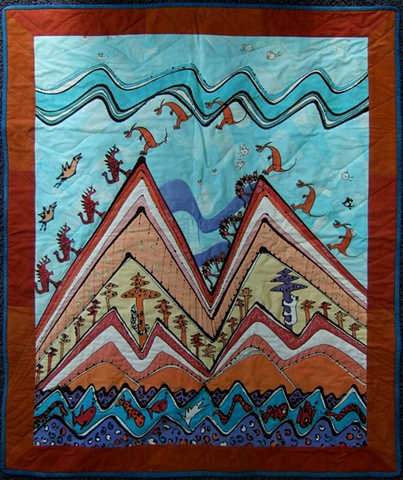 hand-painted quilt with dinosaurs and other animals climbing a mountain