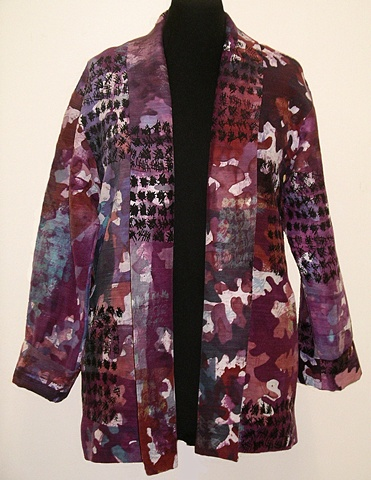hand-dyed silk/hemp jacket; oak leaf motif