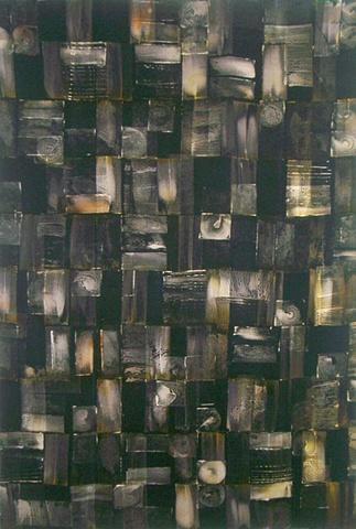 art cloth: aerial grid, monoprinted, handpainted