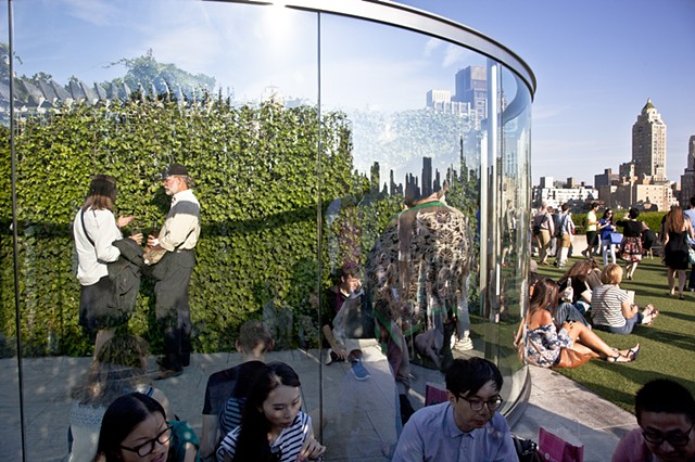 Dan Graham's glass pavillion on the Met's rooftop garden.