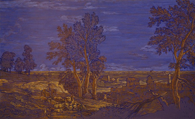 Fantasy Landscape (diminished violet/burnt sienna orange) 2004. 66 x 101 cm. Extensive Pastoral Landscape, Marco Ricci, 1730,Metropolitan Museum of Art