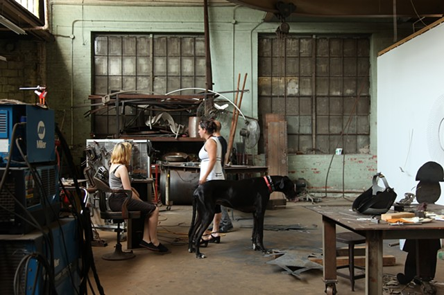 Stuart Watson and Sarah Laing in a Baltimore studio building.