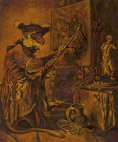Monkey Painter  (after Jean Siméon Chardin, Le Singe Peintre, 1739, Louvre Museum, Paris)