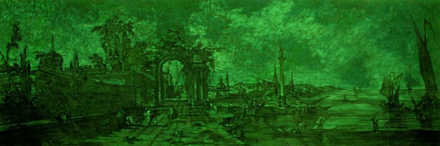 Fantasy Landscape (cadmium green, long) Source: Cappriccio, Francesco Guardi, 1760s, Metropolitan Museum of Art, New York