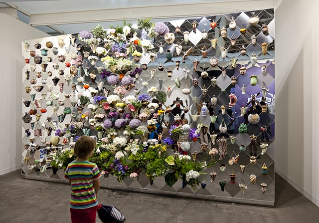"""Blumenmauer,"" or ""Flower Wall,"" by Gitte Schaefer, presented in the Art Statements section of Art Basel, by the Zurich gallery called Lullin+Ferrari."
