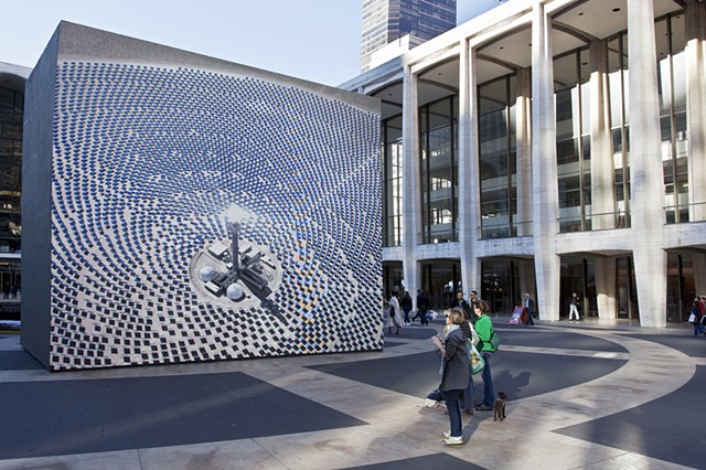 "John Gerrard's ""Solar Reserve (Tonopah, Nevada)"" installed at Lincoln Center Plaza."