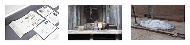 Triptych: Marcel Broodthaers vitrine, Alden Projects, New York, NY, 2016/La Recoleta Cemetary, Buenos Aires, 2016/Rittenhause Square neighbourhood, Philadelphia, 2014