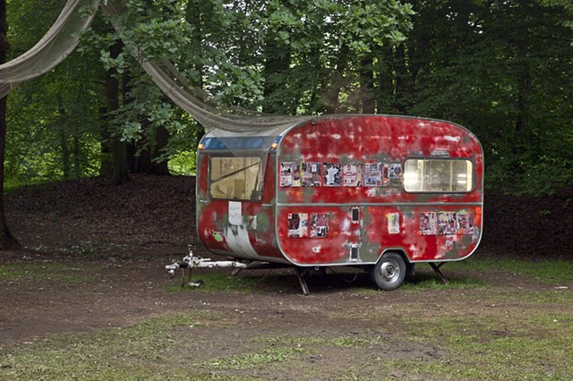 "Installation entitled ""MON CHERI, A Self Portrait As A Scrapped Shed""  by Shinro Ohtake in Kassel's Karlsaue Park, Documenta 13"