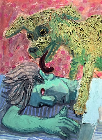 oil, painting, dog, Ashley, Norwood, Cooper, licking, tongue, pink, blue, green