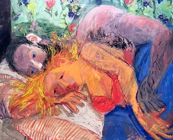 paintings, woman, man, pink, body, sex tears