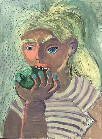oil, painting, apple, green, girl, stripes, Ashley, Norwood, Cooper