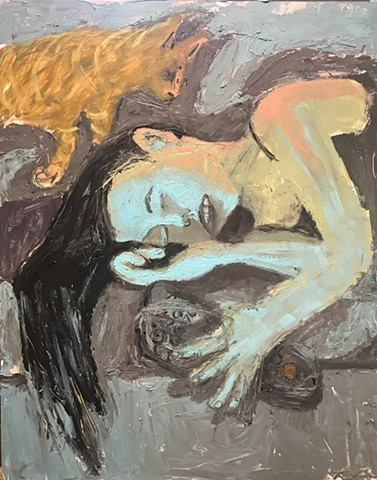 laying, girl, tv, television, oil painting, art gallery, gray