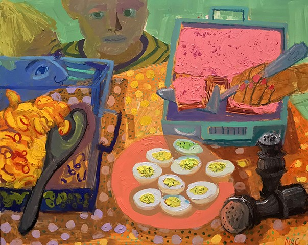 oil, painting, pink, cake, deviled eggs, boys, Ashley, Norwood, Cooper