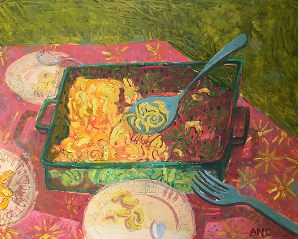 Oil painting still life macaroni and Cheese ashley Norwood cooper