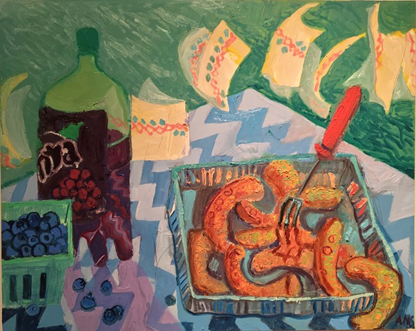 Still life painting oil sausages grape fanta picnic Ashley Norwood coopet