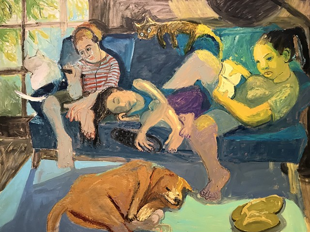 oil painting, blue, children, teenagers, interior, lounging