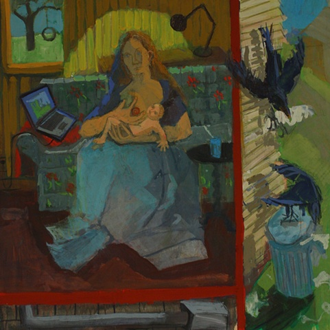 Painting of mother nursing baby with laptop near by Ashley Norwood Cooper casein