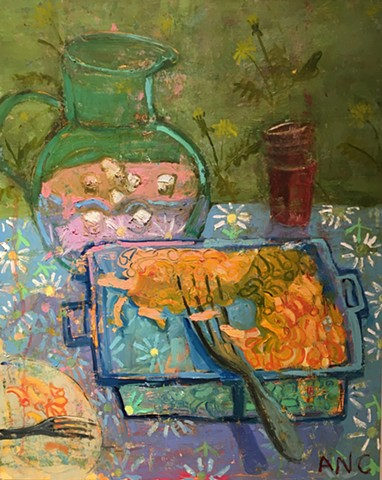 Oil painting maroni and cheese still life picnic colorful