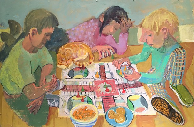 Oil, painting, interior, children, games, parcheesi, primary colors, modern, figures, contemporary, fun