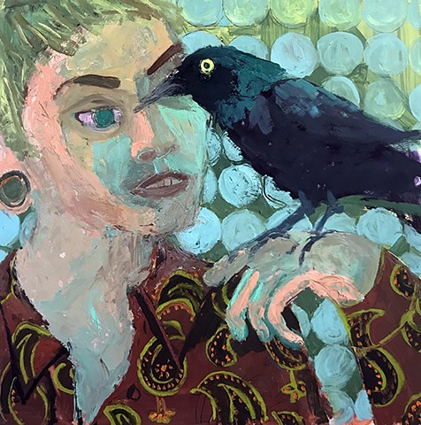 oil, painting, grackle, boy, bird, black, green, Ashley, Norwood, Cooper