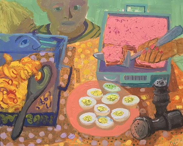 kids in ar,t orang,e still life, oil paintings, gallery, picnic food, macaroni and cheese,