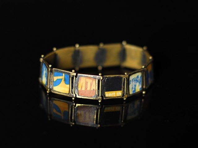 Recycled bracelet from NYC Transit MetroCards® and brass