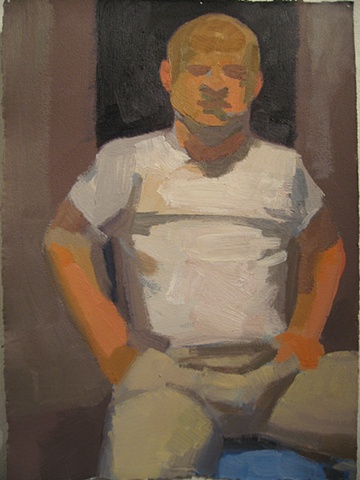 oil painting on paper of a seated man