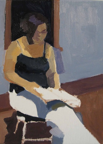 oil painting on linen of a seated woman reading