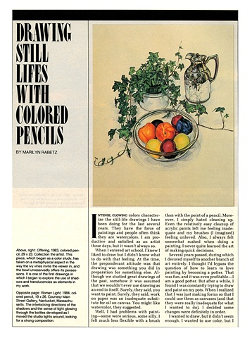 %American Artist Magazine% article on how to use colored pecils