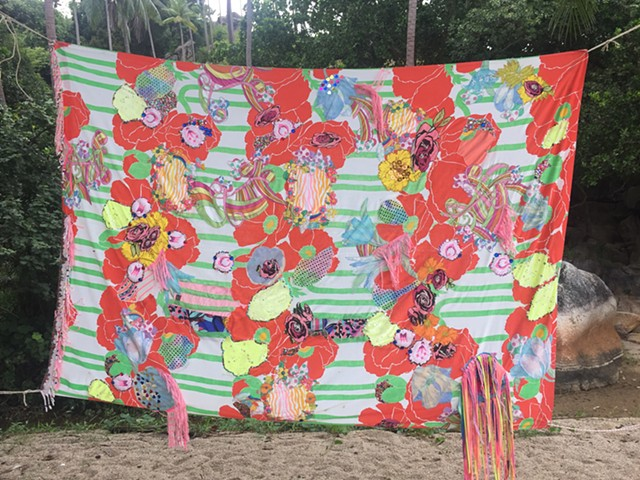 fabric assemblage, outdoor installation True Nature Festival, Koh Phangan, Thailand