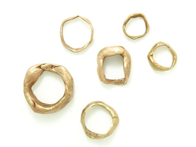 Souvenir rings cast of imprints, tactility, touch, art jewellery