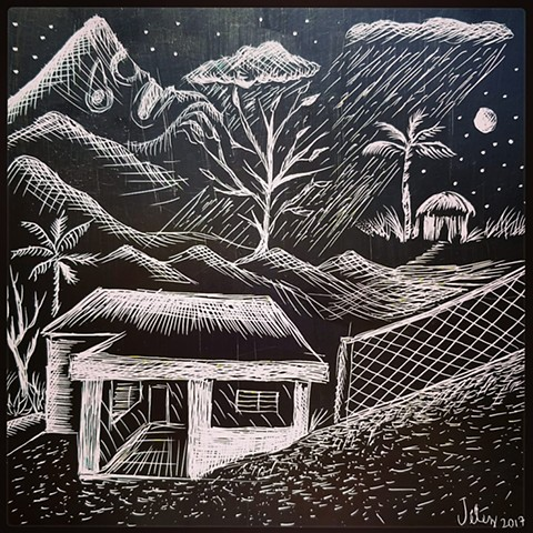 A scratchboard drawing of my grandfather's house in the foreground and a recovering Boriken in the background.