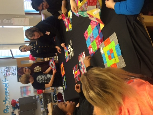 Community quilt making by South Park High School fashion design students, 2016