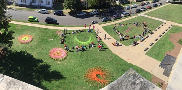 Students working on a Craft Art Field Day mandala at Andrew G. Curtin Intermediate School in Williamsport, PA
