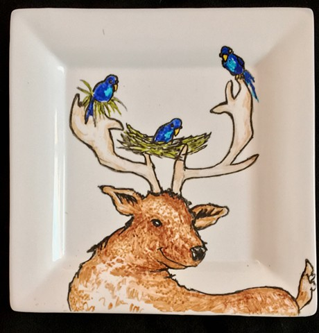 antler deer nest ceramic plate painting
