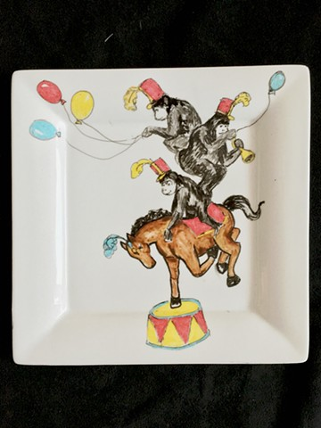 Ceramic Painting horse monkeys circus