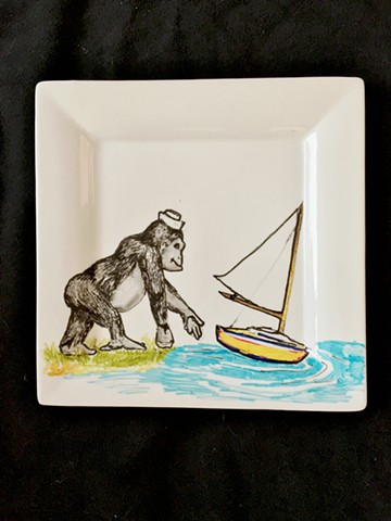 Gorilla Sailboat Ceramic Painting